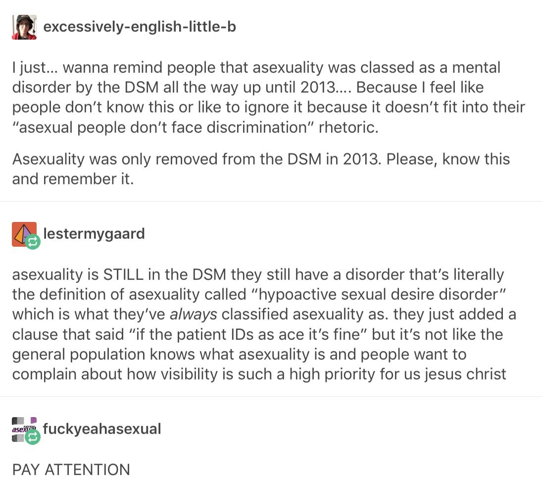 severe lack of sexual libido [usually caused by depression] when observed in someone who previously had that libido is an actual disorder. it's NOT the same thing asexuality omg... ace ppl want to be oppressed so badly lol aphobia isn't fucking real