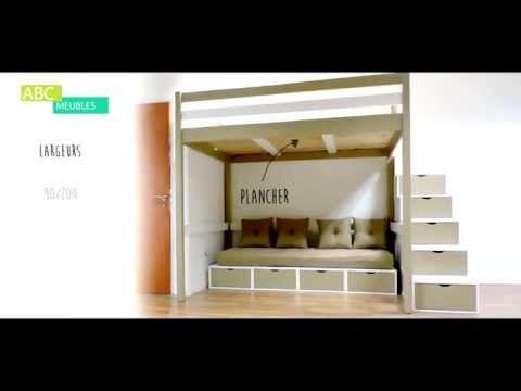 Lit Mezzanine made in France avec escalier cubes de