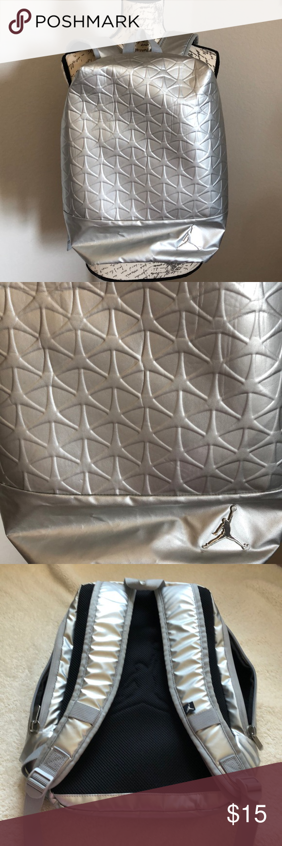 b43642d3caafde 🏀Nike Silver Jordan Backpack🏀 🏀🏀Nike Jordan Silver Backpack🏀🏀EUC.  Please see pictures for any flaws. Great Backpack. Adjustable straps.