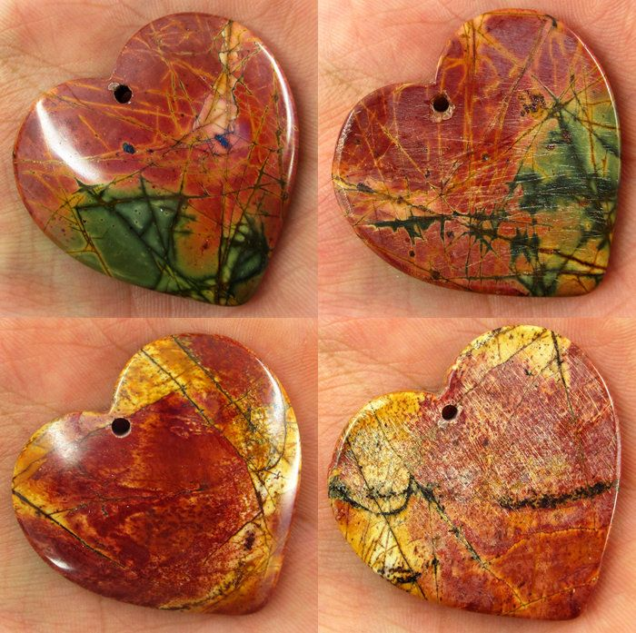 Natural Pattern Picasso Jasper Heart-shaped Pendant  Loose Beads