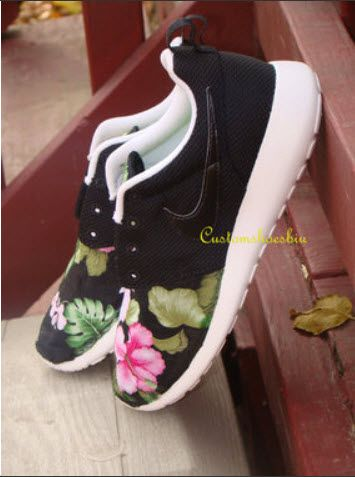 c930aa766bf8 Custom Roshe Run- Black Pink Hibiscus Flower Tropical Floral Print