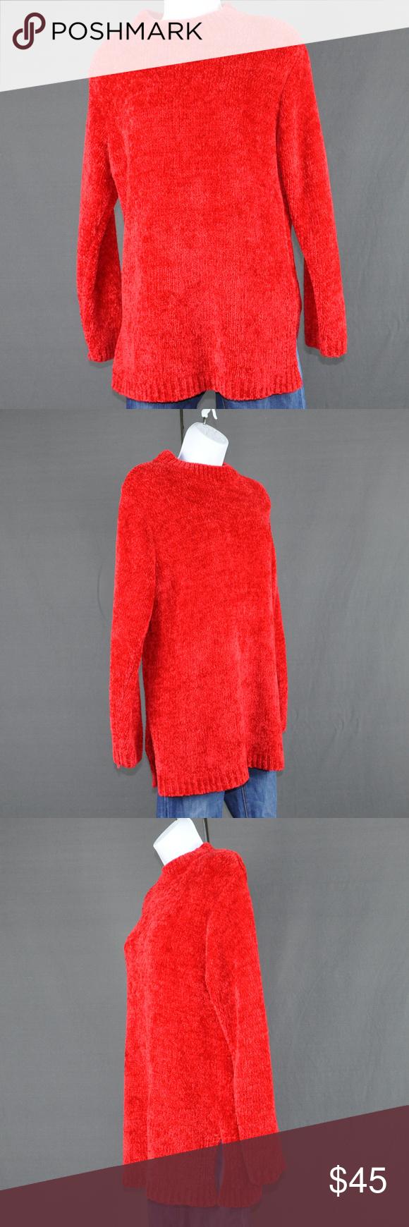 Yarnworks Soft & Fuzzy Red Tunic Sweater Sz: M | Red tunic, Tunic ...