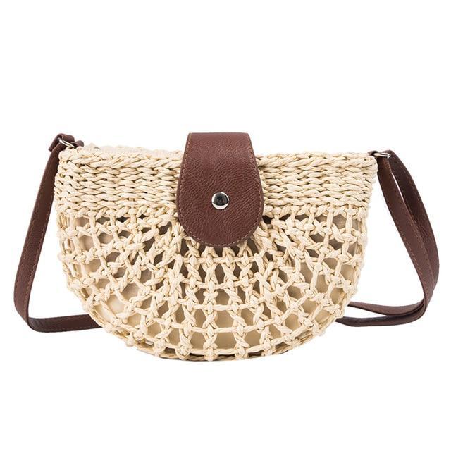 Beach Bags Straw Woven Small Handbag Messenger Bag for Womens and Girls
