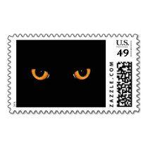 Black Cat Orange Eyes Halloween Postage Stamp