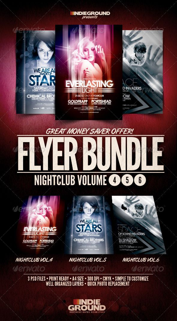 Nightclub Flyerposter Bundle Vol 4 6 Party Poster Template And