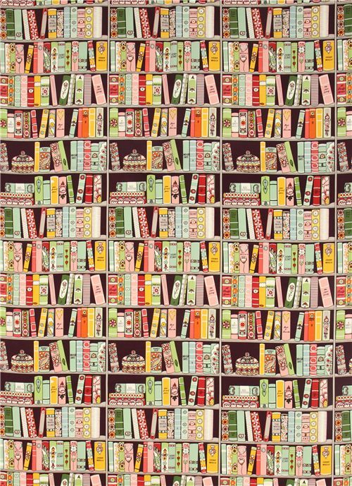 Purple Alexander Henry Bookshelf Fabric With Books