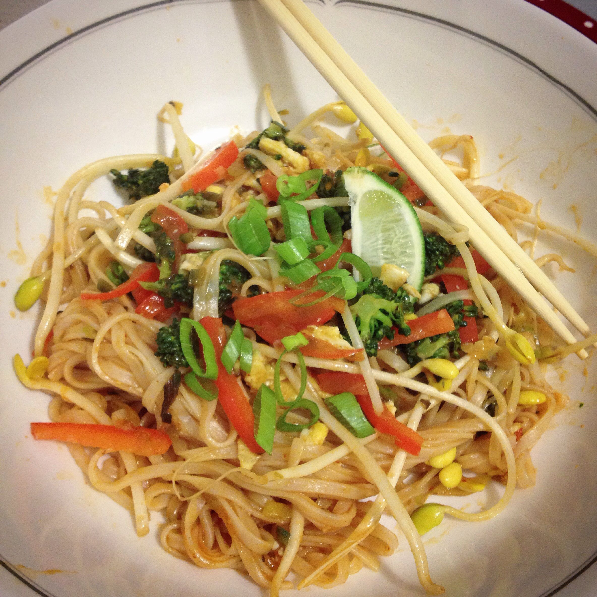 Homemade Pad Thai. With broccoli, red peppers, green onion and sprouts.