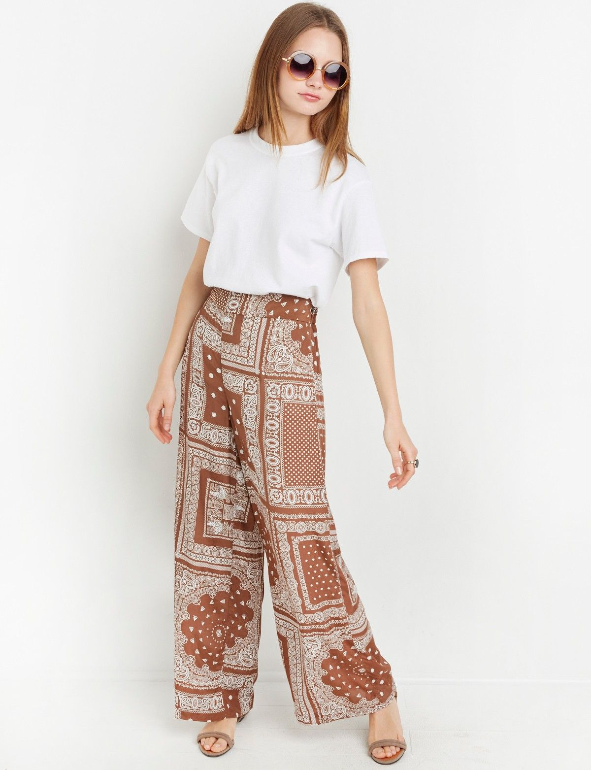 Brown Bandana Print Wide Leg Pants