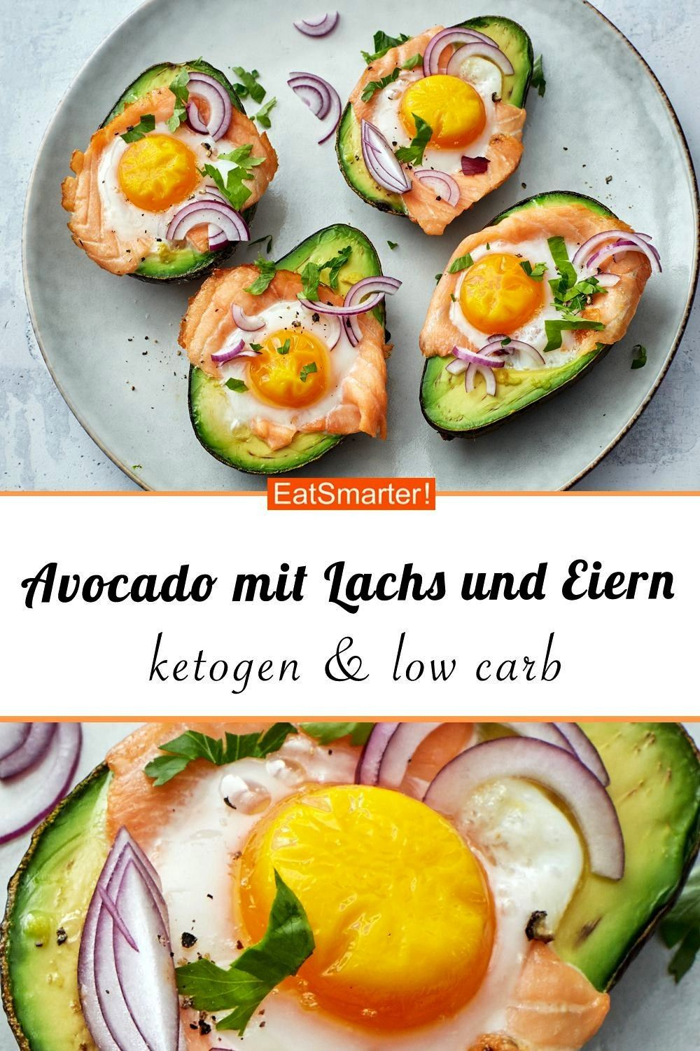 with salmon and eggs - smarter - calories: 295 kcal - time: 15 min. |  carbAvocado with salmon and