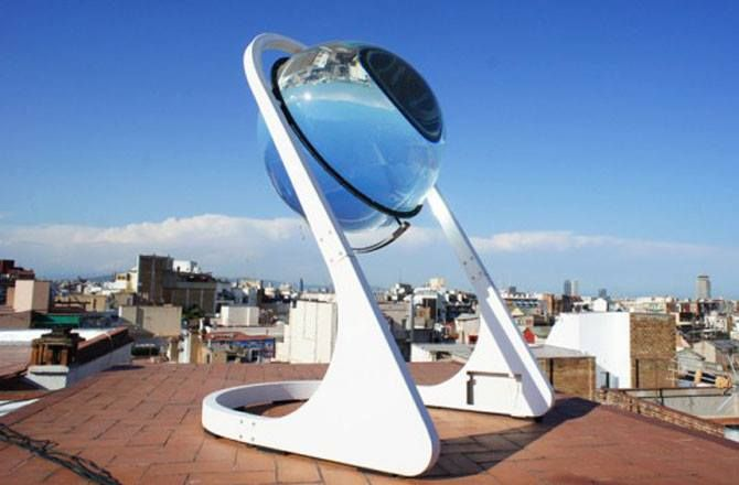 This marble is a sun-tracking, solar energy-generating globe, meant to concentrate both sunlight and moonlight by 10,000x