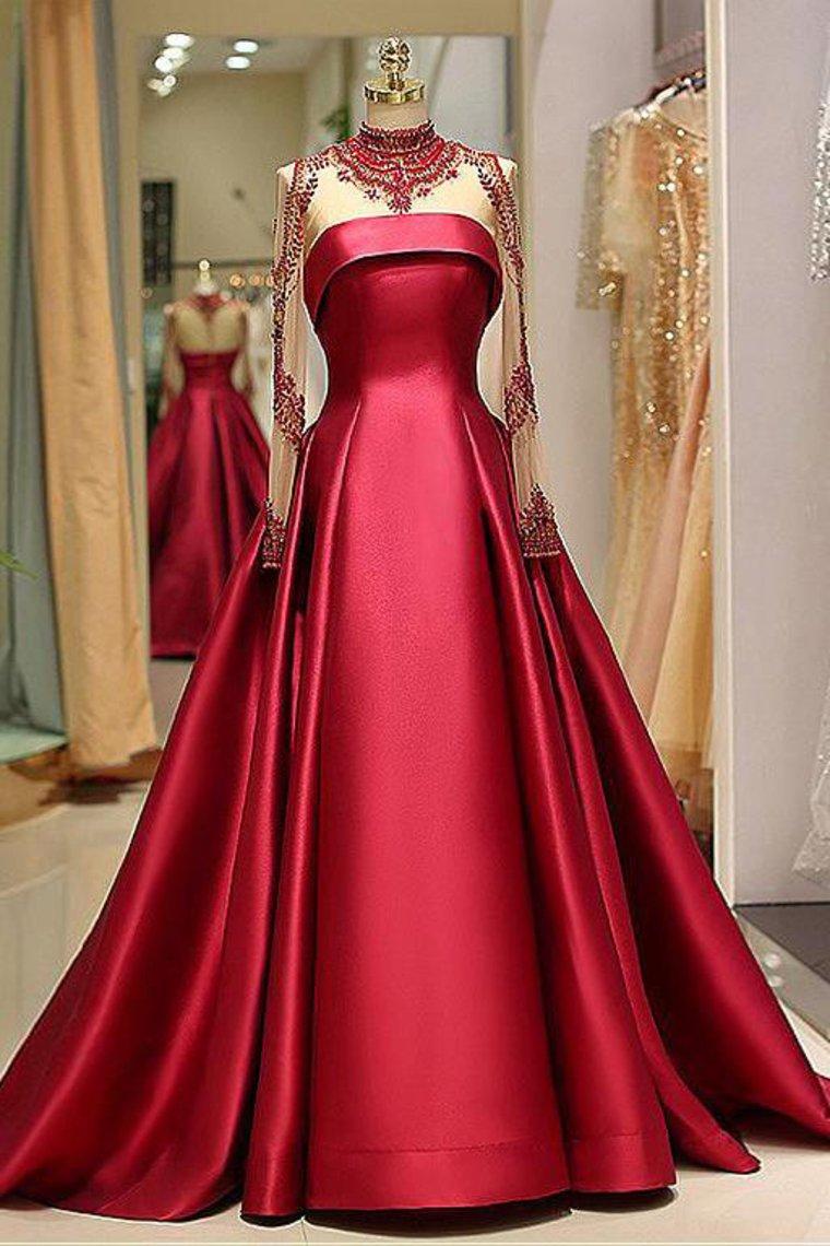 Langarm Abendkleider High Neck Burgund Langes Abendkleid Satin Abendkleid Ak012 Langarm Abendkleider Langes Abendkleid Abendkleid