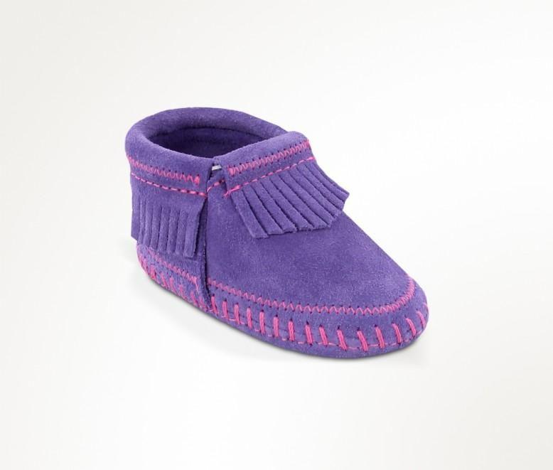 Minnetonka Infant/ Toddler Fringe Purple Leather Moccasin Bootie 1164