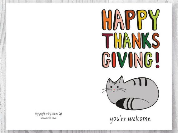 photograph relating to Printable Thanksgiving Cards referred to as Printable Thanksgiving Playing cards, Satisfied Thanksgiving Cat Card