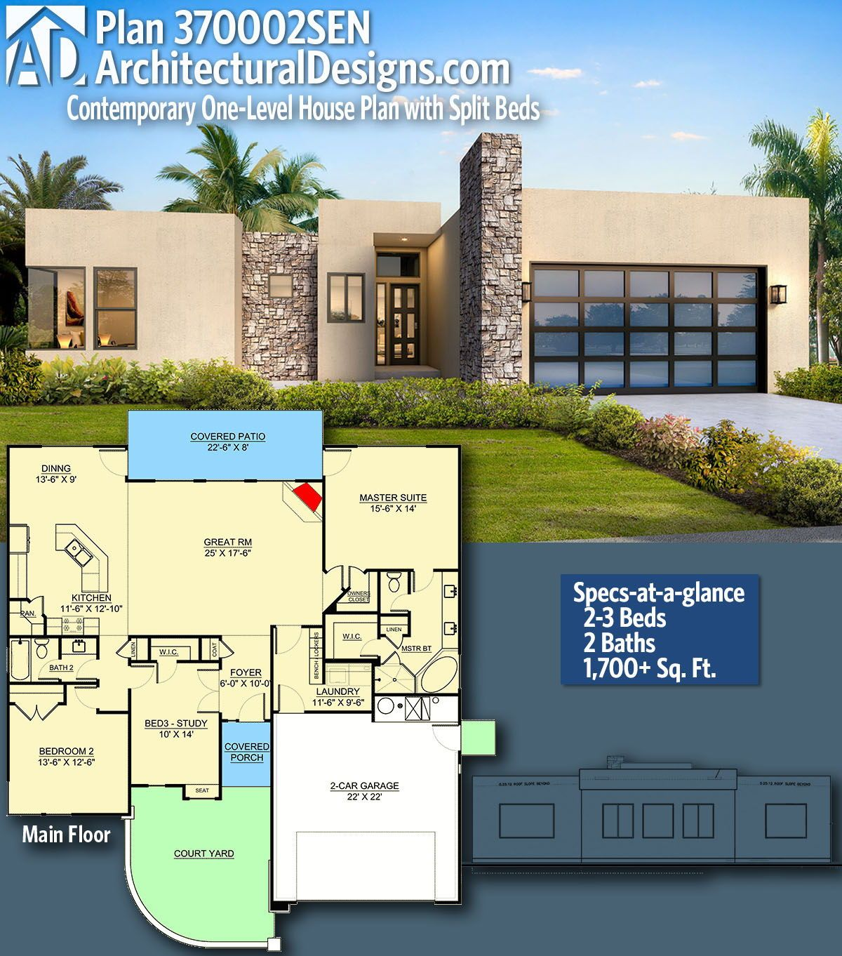 Plan 370002sen Contemporary One Level House Plan With Split Beds One Level House Plans Modern Style House Plans House Plans