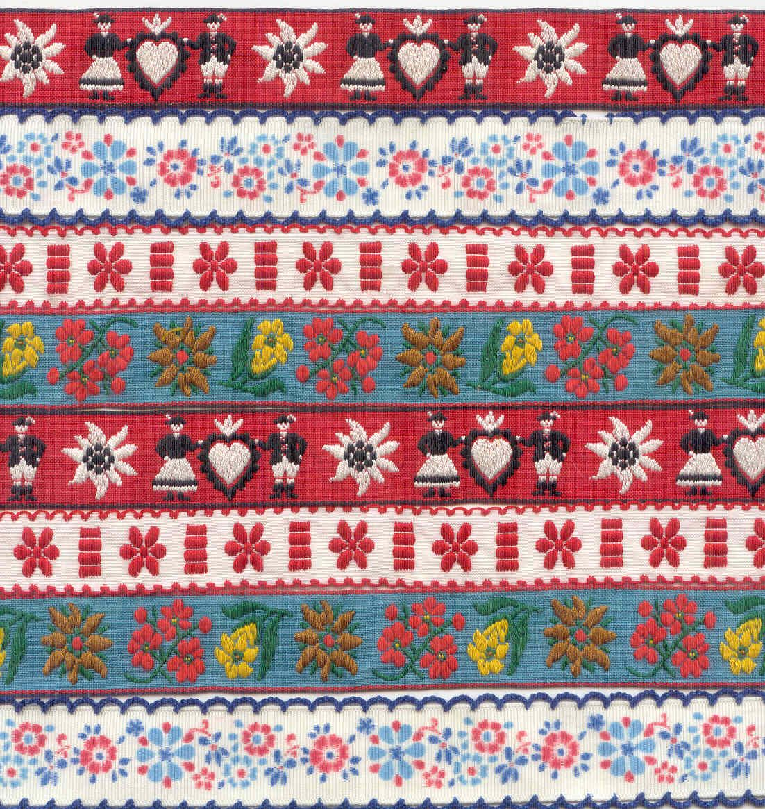 """Yellow Folklore Czech Ribbon –red and blue flowers 2 ¾"""" wide"""