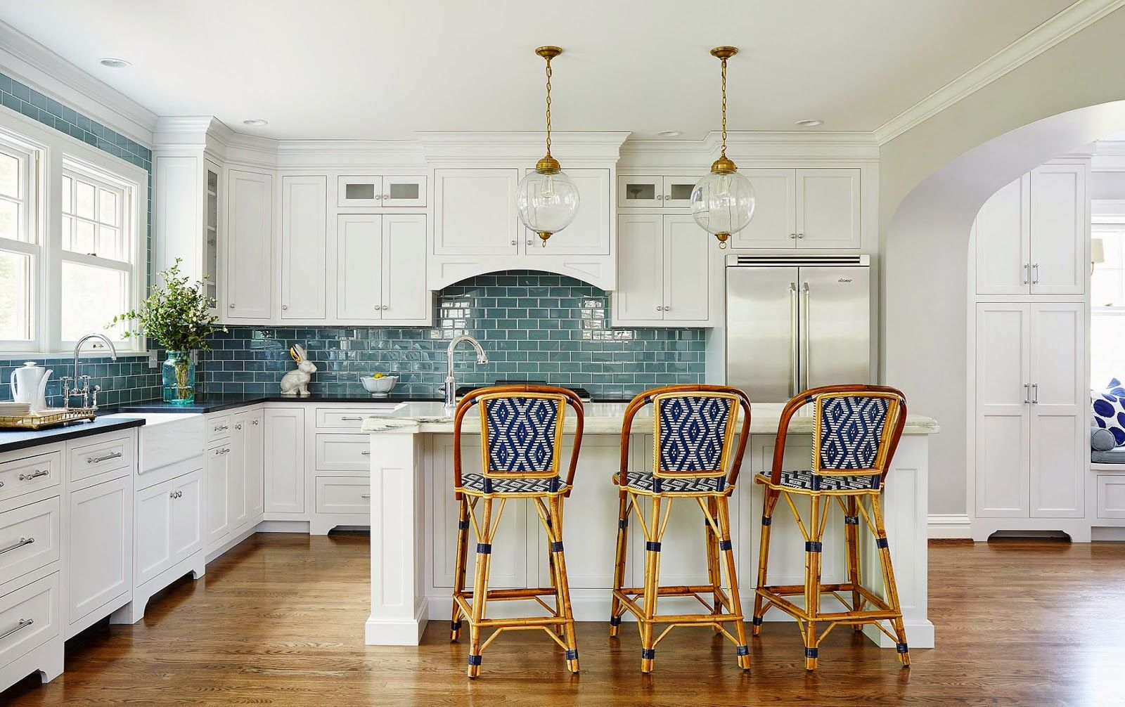 Best Kitchen With White Cabinets Black Countertops And Teal 400 x 300