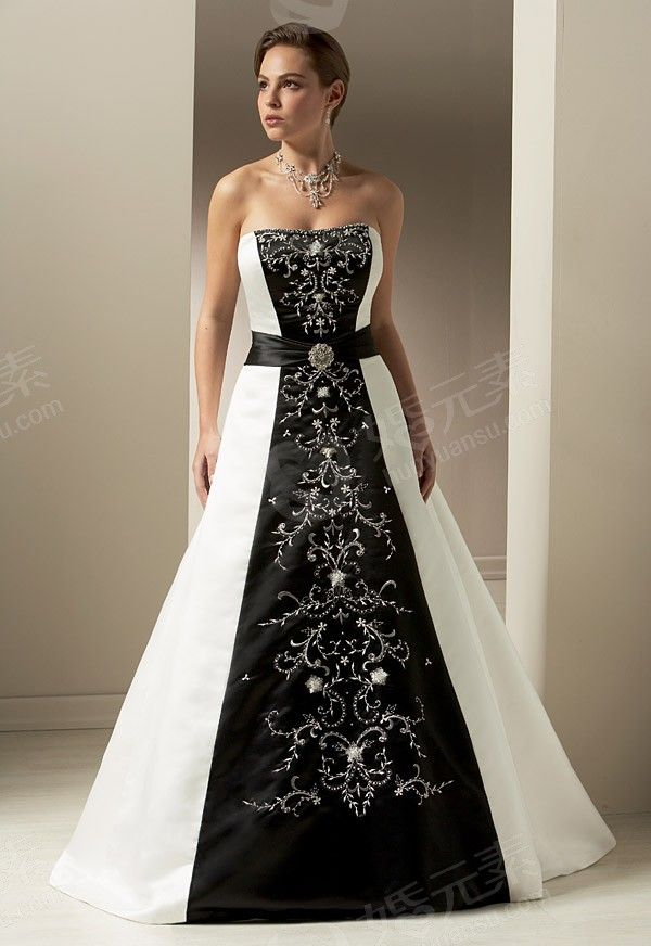 Line series black and white affordable wedding dress b for Affordable non traditional wedding dresses