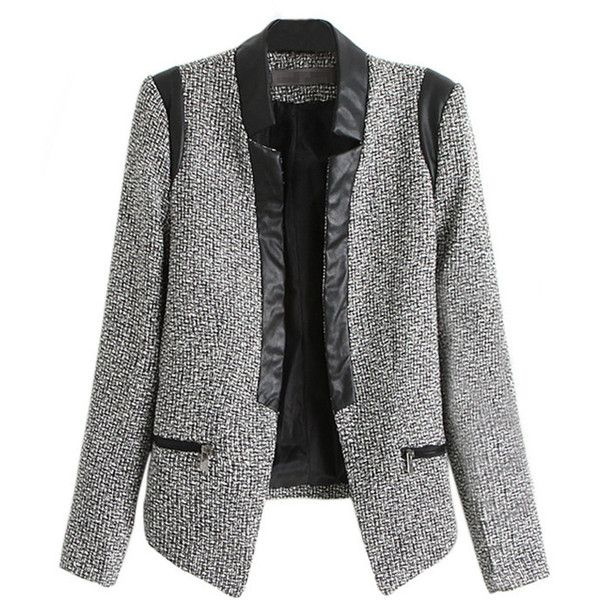 Blazers For Women Gray Long Sleeve Leather Patchwork Wool Blazer (€37) ❤ liked on Polyvore featuring outerwear, jackets, blazers, blazer, coats, grey, gray blazer, grey wool jacket, grey jacket and gray jacket
