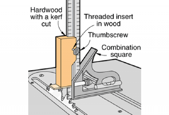 Using a ruler or tape measure to set the depth of cut on a tablesaw convert a combination square to a depth gauge keyboard keysfo Image collections