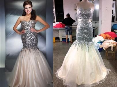 This is a photo of one of our handmade prom dresses that shows just how close our seamstresses try and make our replicas look to the originals. (replica Mac Duggal 85142)