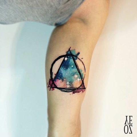 watercolor tattoo by @yelizozcan_tattooart /// Equilattera