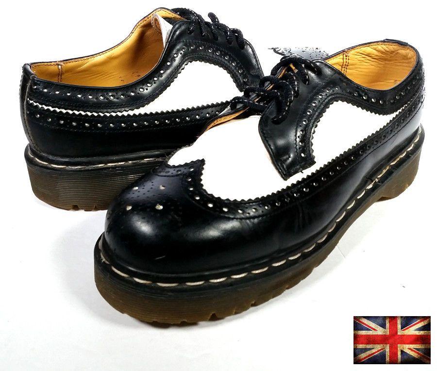 26a005e152c Vintage Dr. Martens Made in England Mens 8 US 7 UK Platform Shoes Black    White  DrMartens  AnkleBoots