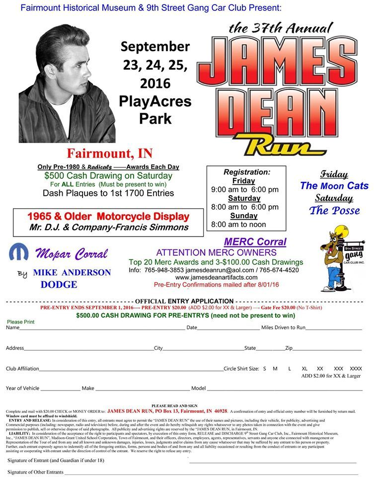 Page  James Dean Run Registration Form Sept   In