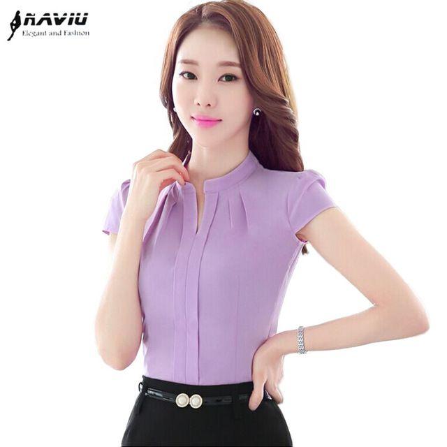 c0c3ffdf7b Elegante Formal del V-cuello de la blusa de las mujeres OL moda de verano  camisa de gasa manga corta delgada señoras de la oficina más el tamaño tops  ...