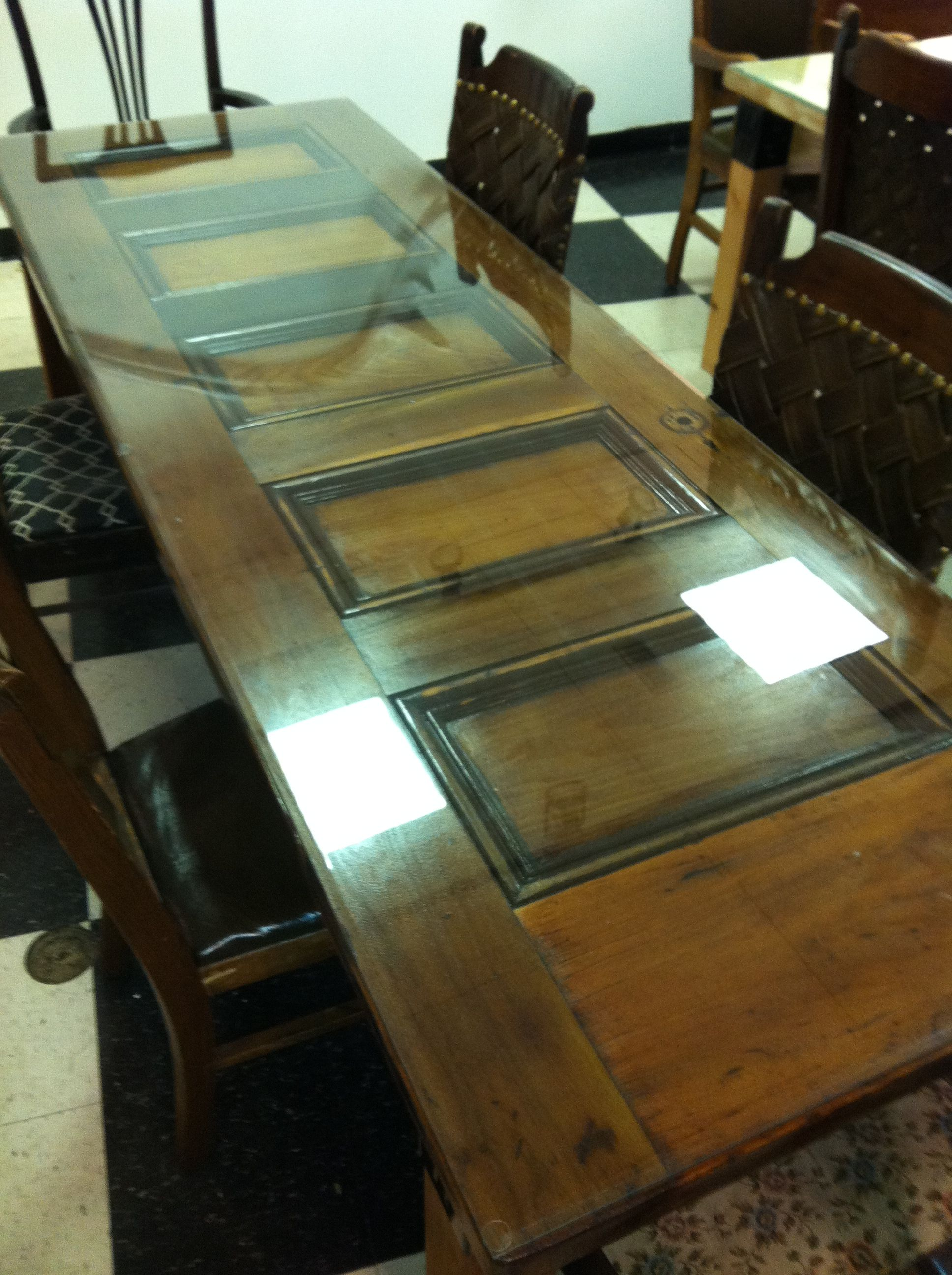 Custom Antique Door Table With Beveled Gl Top By Ted