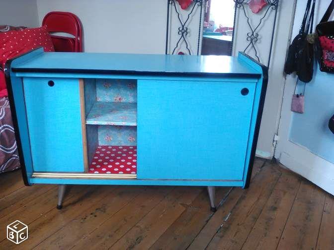 Buffet formica bleu vintage & porte manteaux Ameublement Nord ...