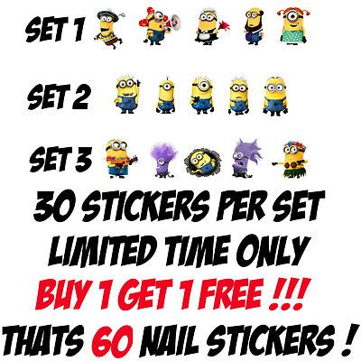 60 DESPICABLE ME MINIONS 2 NAIL ART DECALS STICKERS / TRANSFERS PARTY FAVORS