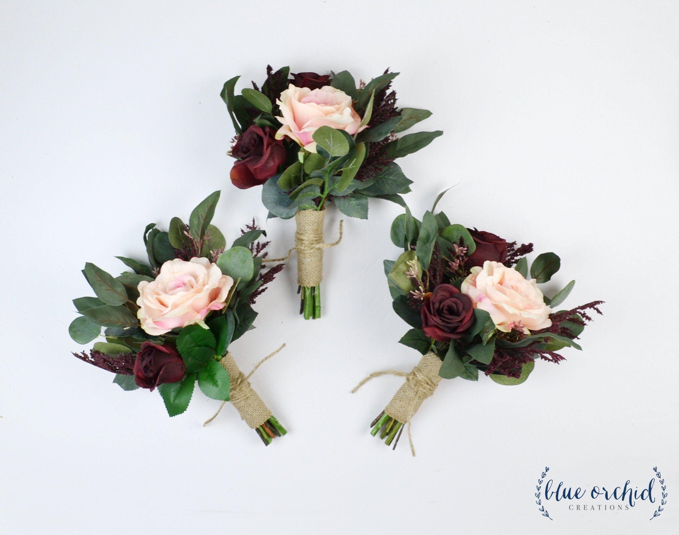hand tied bouquet silk flower bouquet boho bouquet garden bouquet green red wedding bouquet bridal bouquet wedding flowers burgundy