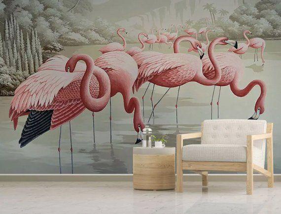 Pink Flamingo in the Lake Textile Wallpaper Retro Flamingo