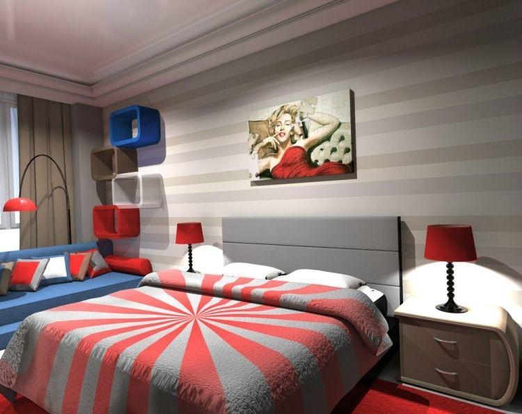 Wandgestaltung mit Streifen in Grautönen - rote und blaue - wandgestaltung mit farbe streifen schlafzimmer