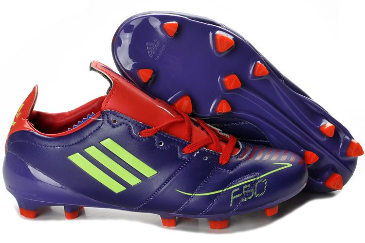 c8b523567e4 Adidas F50 Adizero FG Leather Purple Red Lime Green Firm Ground Soccer  Cleats
