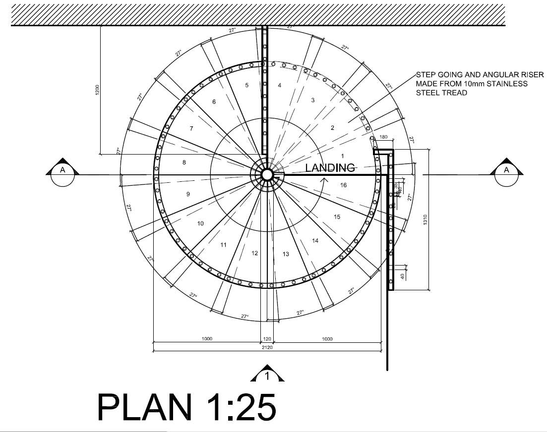 Autocad 2012 spiral staircase detail drawings plan for Spiral staircase plan