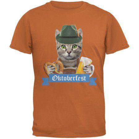 Oktoberfest Funny Cat Texas Orange Adult T Shirt