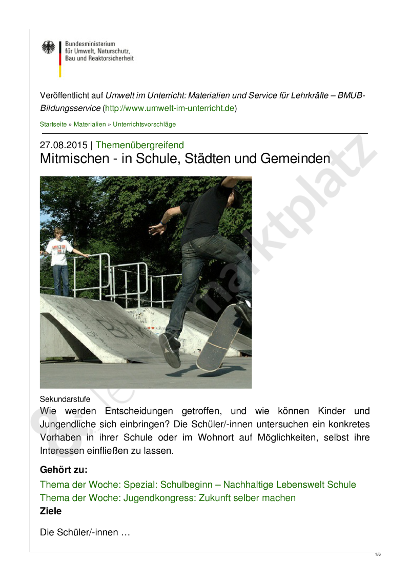 Unterrichtsentwuf: Mitmischen - in Schule, Städten und Gemeinden ...