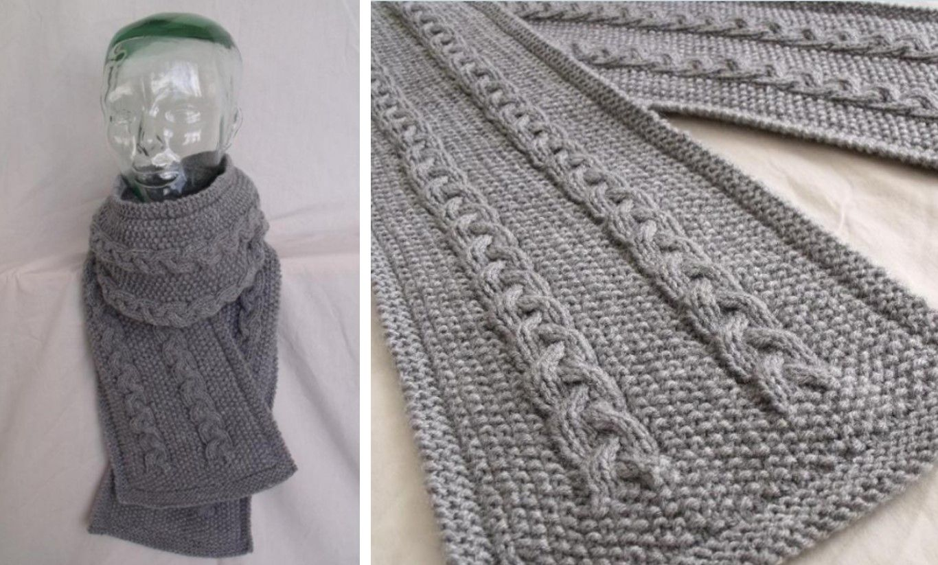 Lovely Cable Knitted Scarf [FREE Knitting Pattern] | Mitts, Scarves ...