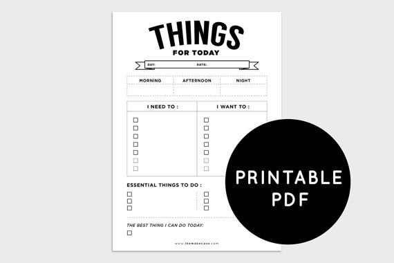 Printable PDF Daily Planner To Do List by TheMakerJess on Etsy