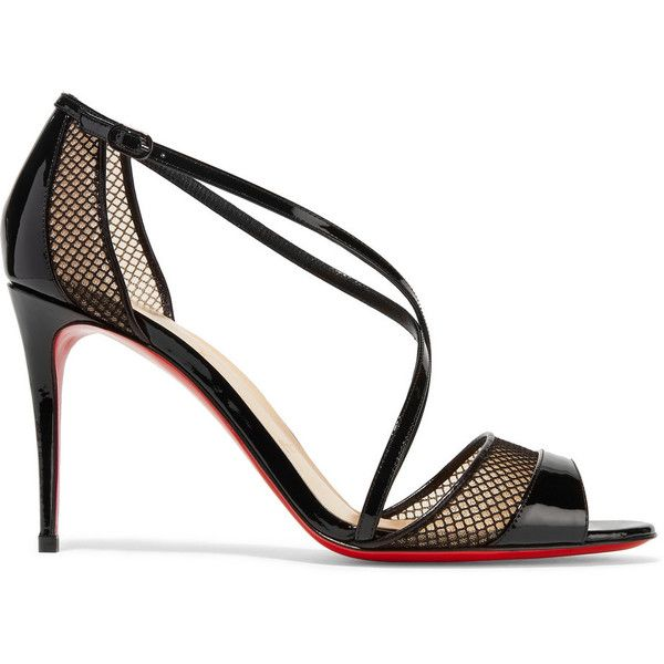 Christian Louboutin - Silkova 85 Mesh And Patent-leather Sandals - Black