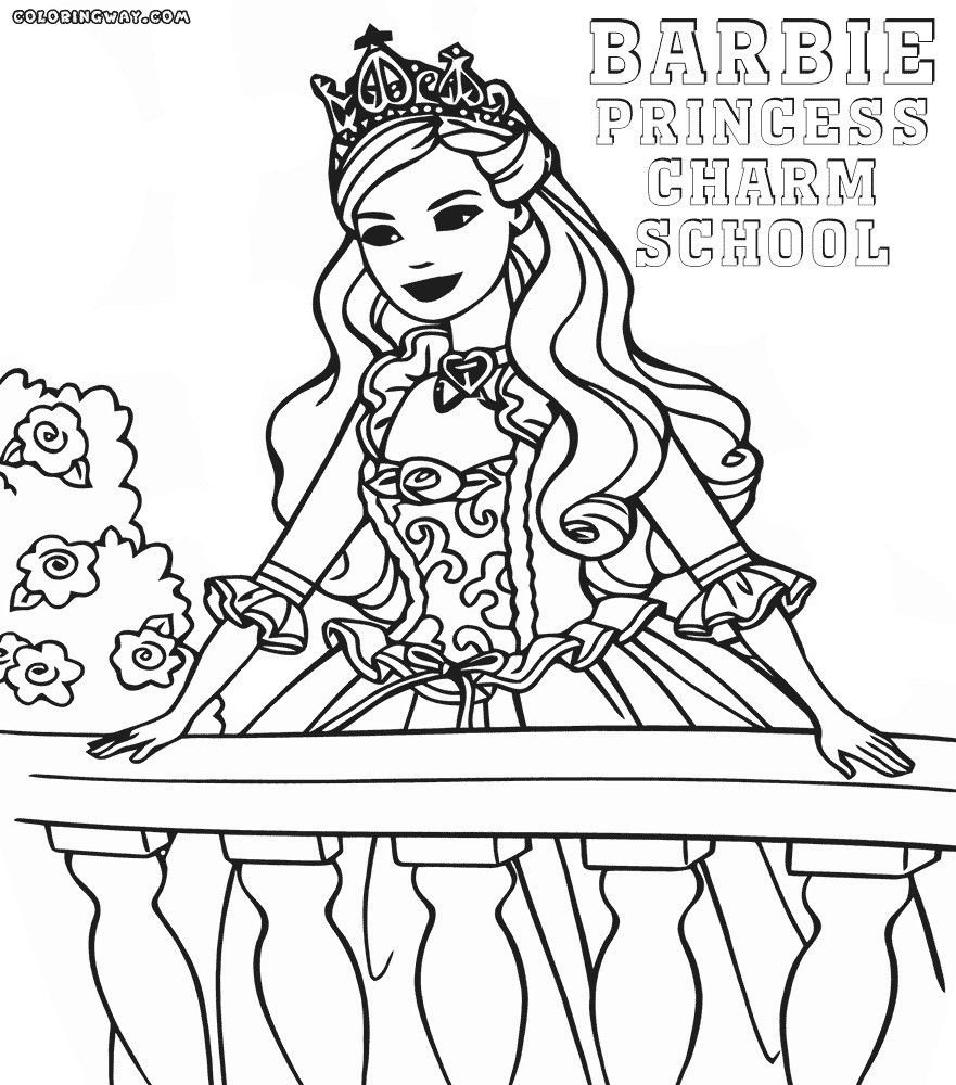 Coloring Pages Barbie Princess Charm School Princess Coloring