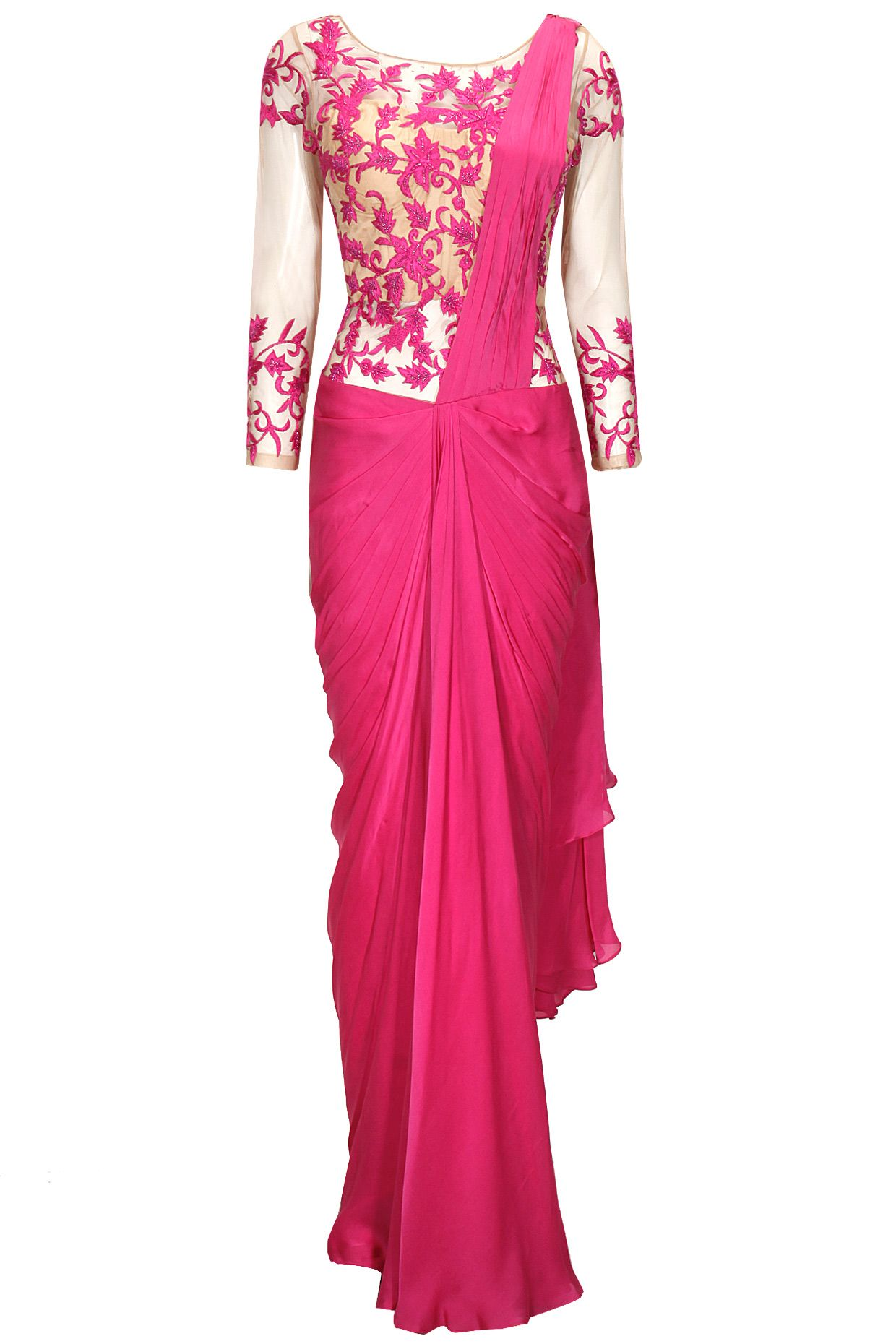 Pink floral embroidered pre- stitched sari gown available only at ...