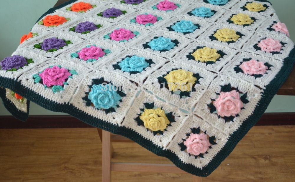 free crochet 3D flower patterns | 3d crochet blanket Reviews - Online Shopping Reviews on 3d crochet ...