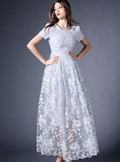Lace Patchwork Hollow Out Charming Maxi Dress