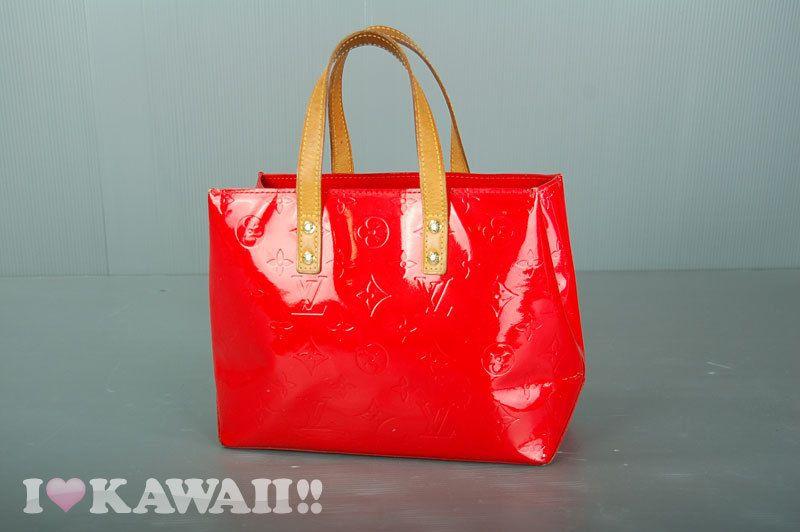 Authentic Louis Vuitton Red Vernis Reade PM Tote Bag M91088 #LouisVuitton #TotesShoppers