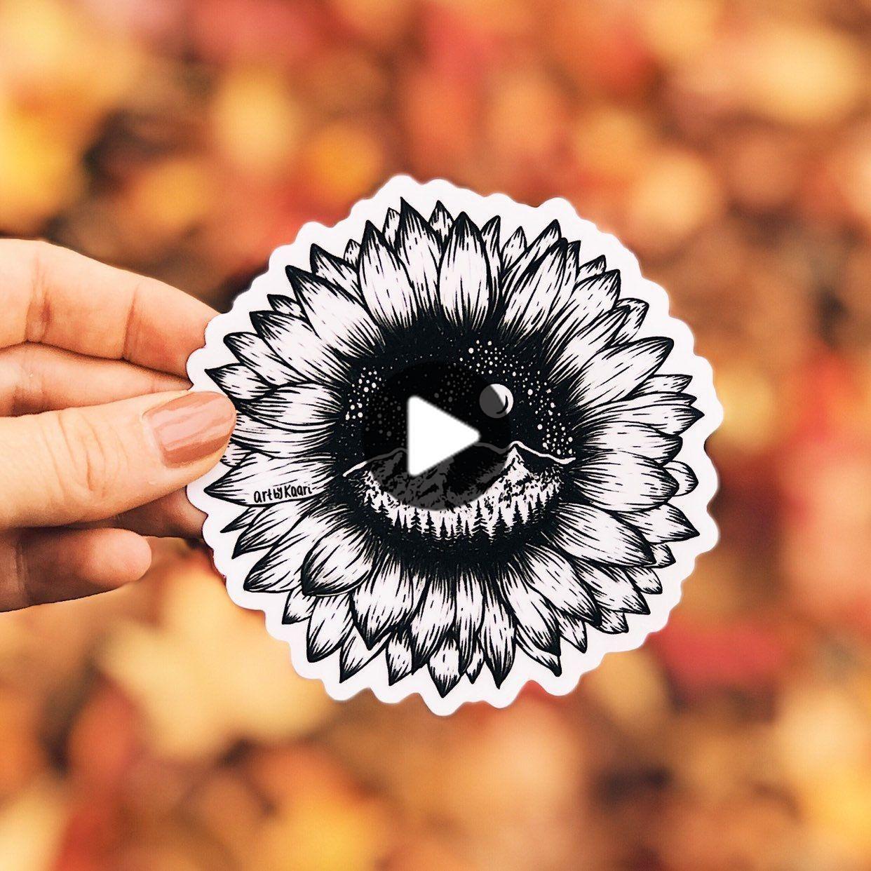 Mountain Sunflower Vinyl Sticker
