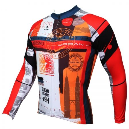 Travel Round The World Design Red Bike Jerseys For Mens Image 2