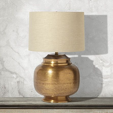 Orissa Large Brass Table Lamp With Natural Shade Project Downtown