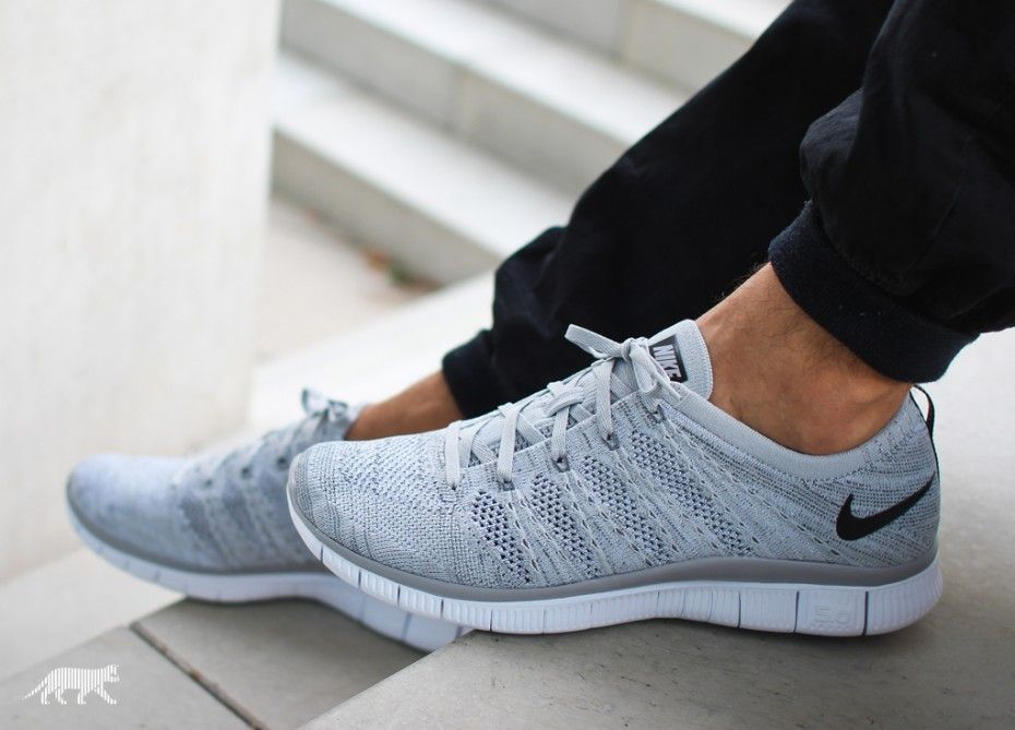 Nike Free Flyknit Nsw Wolf Grey Black Dark Grey White Chaussure Sport Chaussure Chaussures De Course